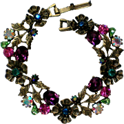 Foil Backed Rhinestone Flower Link Bracelet