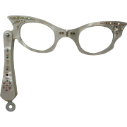 Cat Eyes Lorgnette Folding Opera Glasses with Rhinestones 1950's