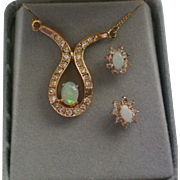 Opal Necklace and Pierced Earring Set