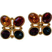Napier Pierced Multiple Colored Rhinestone Earrings