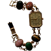 Kenneth Jay Lane KJL Egyptian Revival Scarab Bracelet Watch