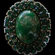 Green Cabochon Rhinestones Ring