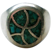 Native American Sterling Turquoise Chip Ring