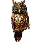 Wise Owl Pin / Pendant with Turquoise Bead Accents