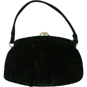 Vintage Black Velvet Evening Bag by Garay