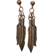 Native American Indian Feather Dangle Pierced Earrings