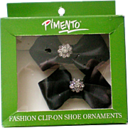 Pimento Black Satin Rhinestone Shoe Clips