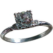 Sterling Silver Solitaire Rhinestone Ring by Uncas Mfg. Co.