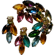 Large Rainbow Rhinestone Brooch with Matching Clip Earrings