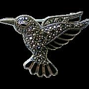 Marcasite Silver tone Bird Pin