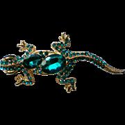 Gecko Lizard or Salamander Rhinestone Pin