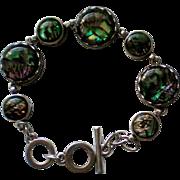 Abalone Shell Silver tone Link Bracelet
