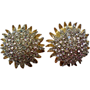 Castlecliff Domed Rhinestone Clip Earrings
