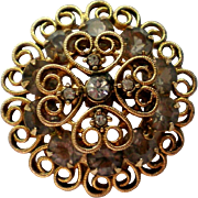 Three Layer Filigree Rhinestone Brooch
