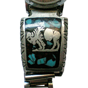 Signed KAM Native American Buffalo Turquoise Watch Band
