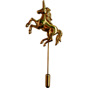 Gold tone Unicorn Stick / Lapel Pin