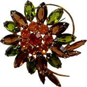 Multi Layered Prong Set Rhinestone Flower Brooch