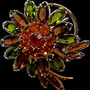 Multi Layered Prong Set Rhinestone Flower Brooch