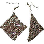 Whiting & Davis Silver tone Mesh Dangle Earrings