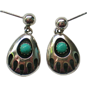 Q.T. Sterling Silver Turquoise Bear Paw Pierced Earrings