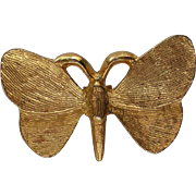 Solid Gold tone Metal Butterfly Pin