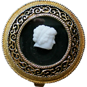 White Cameo Gold tone Filigree Pressed Powder Compact