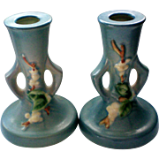 Roseville Art Pottery Blue Snowberry Candle Sticks
