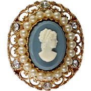 Wedgewood Inspired Cameo Brooch by Coro