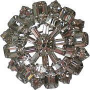 Brilliant Domed Clear Rhinestone Brooch