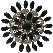 Large Multi-layered Black & Clear Rhinestone Brooch