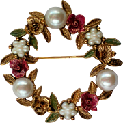 Spring Flowers Wreath Pin / Brooch