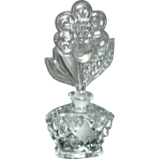 Clear Glass Perfume Bottle with Flower Stopper