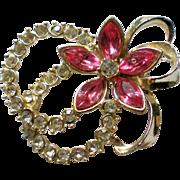 Pink Flower Rhinestone Pin