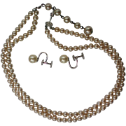 Marvella Sterling Faux Pearl Necklace & Earrings Set
