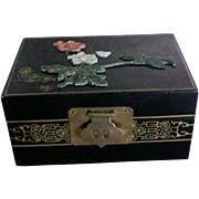 Black Lacquer Wood Jewelry Box with Applied Flowers