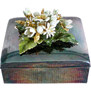 Silver Plated Metal Flower Trinket / Dresser / Jewelry Box
