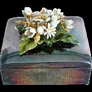 Silver Plated Metal Flower Trinket / Dresser / Jewelry Box - Red Tag Sale Item