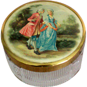 Footed Glass Dresser / Vanity Box with Portrait Lid