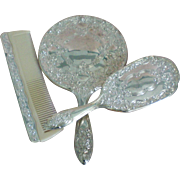 Art Nouveau Silver Plated Mirror, Brush, Comb Vanity Set