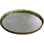 Gold Plated Ormolu Vanity Dresser Tray Mirror