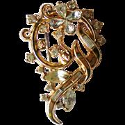 Trifari Gold tone Free Form Rhinestone Brooch