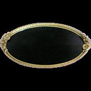 Gold Plated Matson Ormolu Black Onyx Vanity / Dresser / Perfume Mirror Tray