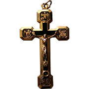 Crucifix with Gold Plating & Black Accents from Italy