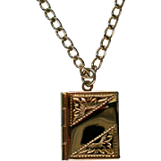 Sarah Coventry Book Locket Pendant Necklace