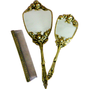 Globe 24K Gold Plated Dresser Set with Mirror, Brush, Comb