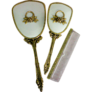 Gold tone Floral Decoration Vanity Dresser Set with Mirror, Brush & Comb