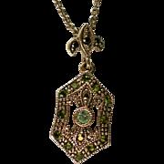 Delicate Rhinestone Jeweled Petite Fleur-de-Leis Pendant Necklace