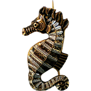 Damascene Seahorse Pin from Spain