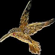 Rhinestone Studded Humming Bird in Flight Pin