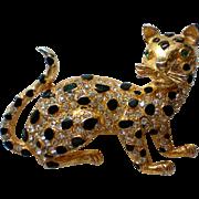 Sparkling Black & Gold Leopard Panther Cat Pin